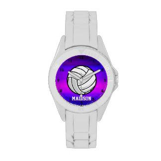 Voleibol; Azul violeta y magenta vibrantes Reloj