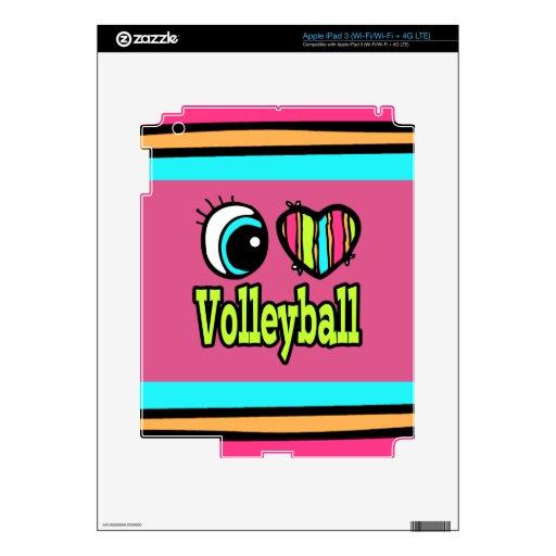 Voleibol brillante del amor del corazón I del ojo Pegatina Skin Para iPad 3