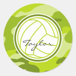Voleibol; camo verde, camuflaje pegatina redonda
