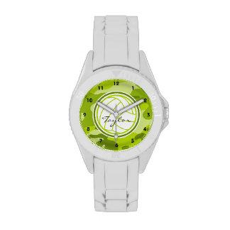 Voleibol; camo verde, camuflaje relojes de pulsera