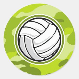 Voleibol; camo verde claro, camuflaje pegatina redonda