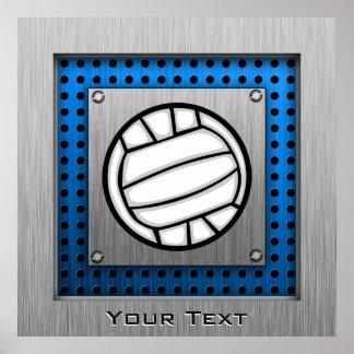 Voleibol cepillado de la mirada del metal póster