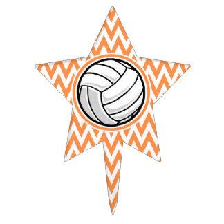 Voleibol; Chevron anaranjado y blanco Figuras Para Tartas