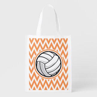 Voleibol; Chevron anaranjado y blanco Bolsas De La Compra