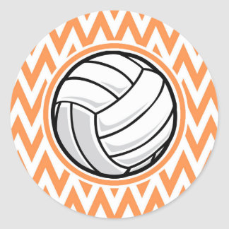 Voleibol; Chevron anaranjado y blanco Pegatina Redonda