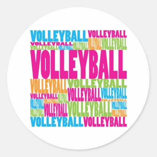 Voleibol colorido pegatina redonda