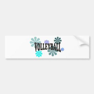 Voleibol con las flores azules pegatina de parachoque