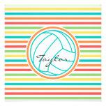 Voleibol con nombre; Rayas brillantes del arco Invitaciones Personalizada