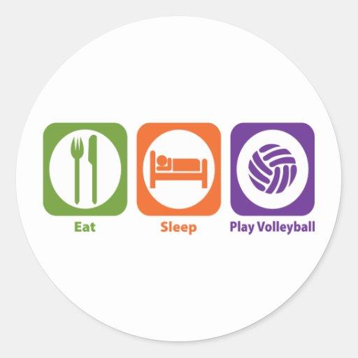 Voleibol de Eat Sleep Play Etiquetas Redondas