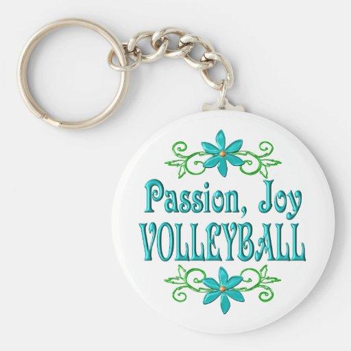 Voleibol de la alegría de la pasión llavero redondo tipo pin