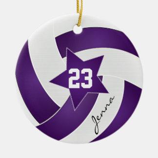 Voleibol de la estrella de la púrpura y del blanco adorno navideño redondo de cerámica