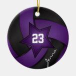 Voleibol de la estrella de la púrpura y del negro ornamento de navidad