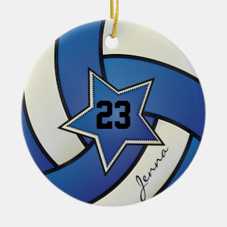 Voleibol de la estrella del azul y del blanco adorno navideño redondo de cerámica