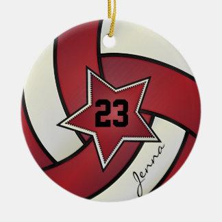 Voleibol de la estrella del rojo y del blanco adorno navideño redondo de cerámica