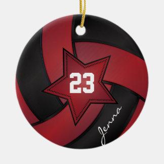 Voleibol de la estrella del rojo y del negro adorno navideño redondo de cerámica