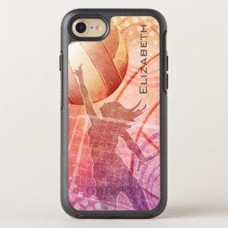 Voleibol de la playa de las mujeres en la puesta funda OtterBox symmetry para iPhone 7