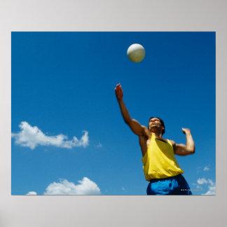 Voleibol de la porción del hombre póster