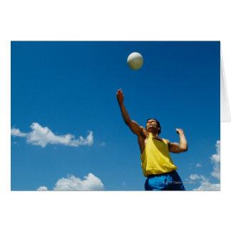 Voleibol de la porción del hombre tarjeta de felicitación