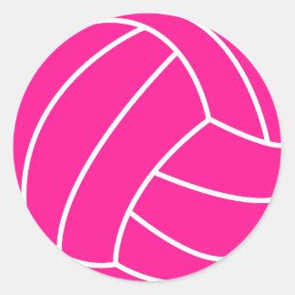Voleibol de las rosas fuertes pegatina redonda