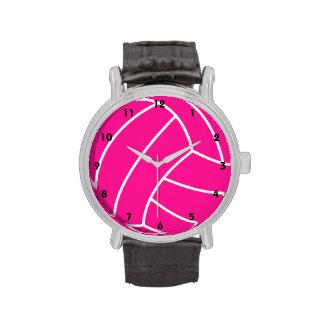 Voleibol de las rosas fuertes relojes de mano