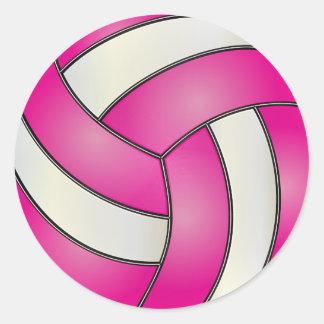 Voleibol de las rosas fuertes y del blanco pegatina redonda