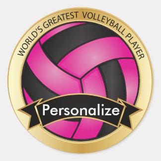 Voleibol de las rosas fuertes y del negro pegatinas redondas