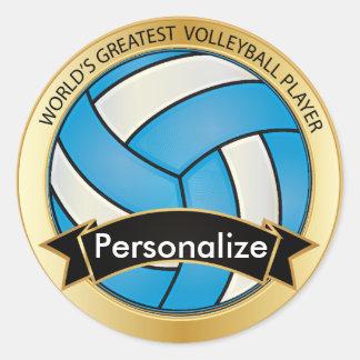 Voleibol de los azules cielos y del negro etiqueta redonda