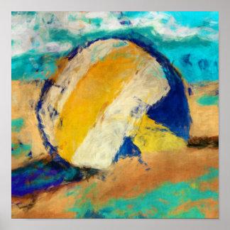 Voleibol de playa abstracto póster