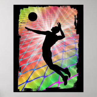 Voleibol de playa colorido de la ráfaga póster