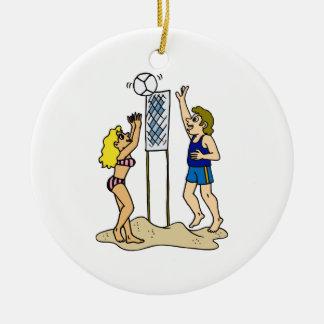 Voleibol de playa de la diversión adorno redondo de cerámica