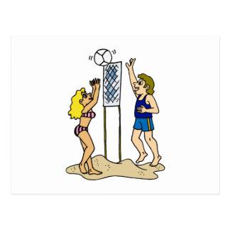 Voleibol de playa de la diversión tarjeta postal