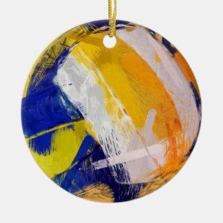 Voleibol de playa del arte abstracto adorno navideño redondo de cerámica