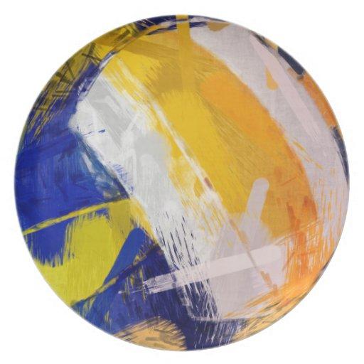 Voleibol de playa del arte abstracto plato de cena