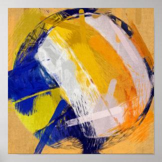 Voleibol de playa del arte abstracto póster