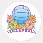 Voleibol de playa del flor etiqueta