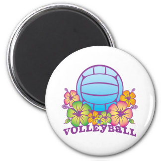 Voleibol de playa del flor imán redondo 5 cm