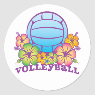 Voleibol de playa del flor pegatina redonda