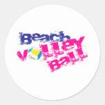 Voleibol de playa pegatina redonda