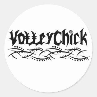Voleibol de VolleyChick de púas Pegatina Redonda