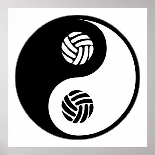 Voleibol de Yin Yang Impresiones