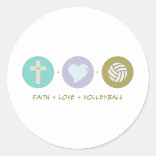 Voleibol del amor de la fe etiquetas redondas