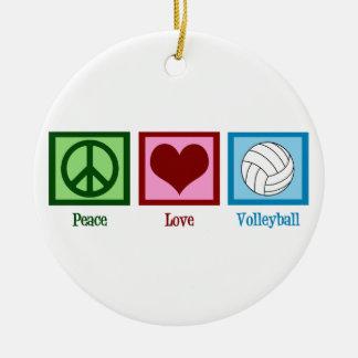 Voleibol del amor de la paz adorno navideño redondo de cerámica