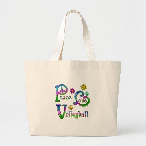 Voleibol del amor de la paz bolsa lienzo