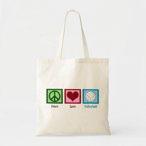 Voleibol del amor de la paz bolsas de mano
