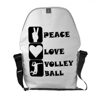Voleibol del amor de la paz bolsa de mensajería