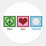 Voleibol del amor de la paz etiqueta redonda