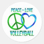 VOLEIBOL del amor de la paz Etiquetas Redondas