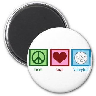 Voleibol del amor de la paz imanes para frigoríficos