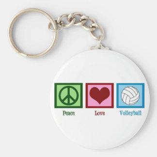 Voleibol del amor de la paz llavero