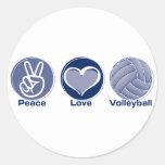 Voleibol del amor de la paz pegatina redonda